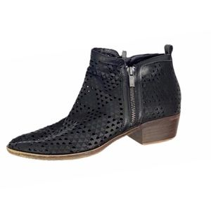 Lucky Brand Laser Diamond Cut Leather Ankle Boots